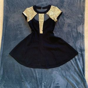 Black dress with gold sequences